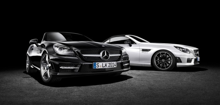 Mercedes-Benz SLK carbonLOOK Edition in Schwarz und Mercedes-Benz SL 63 AMG 2LOOK Edition in Weiß