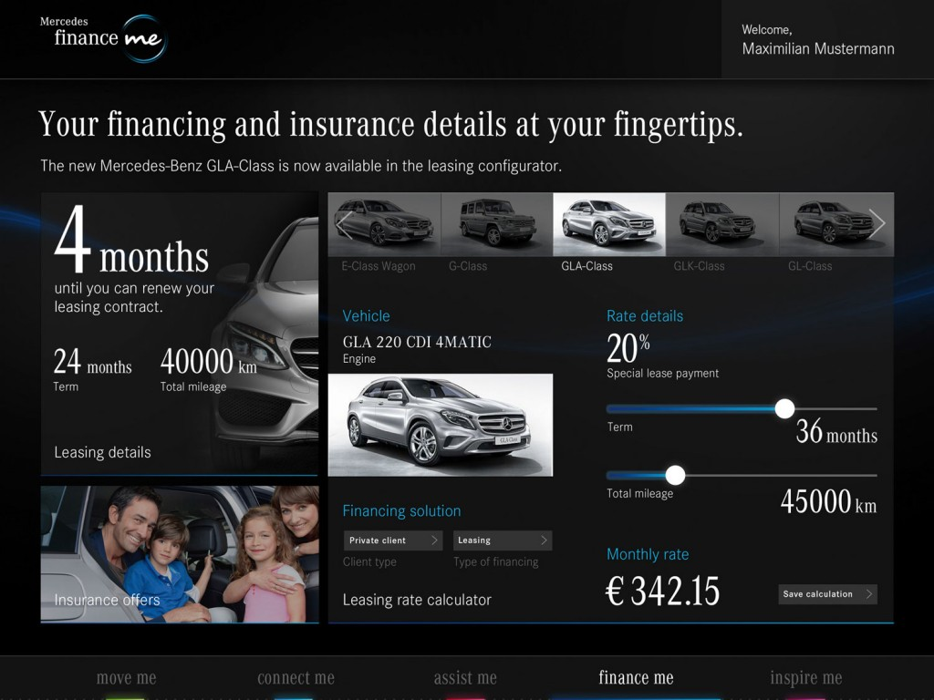 Mercedes me Interface
