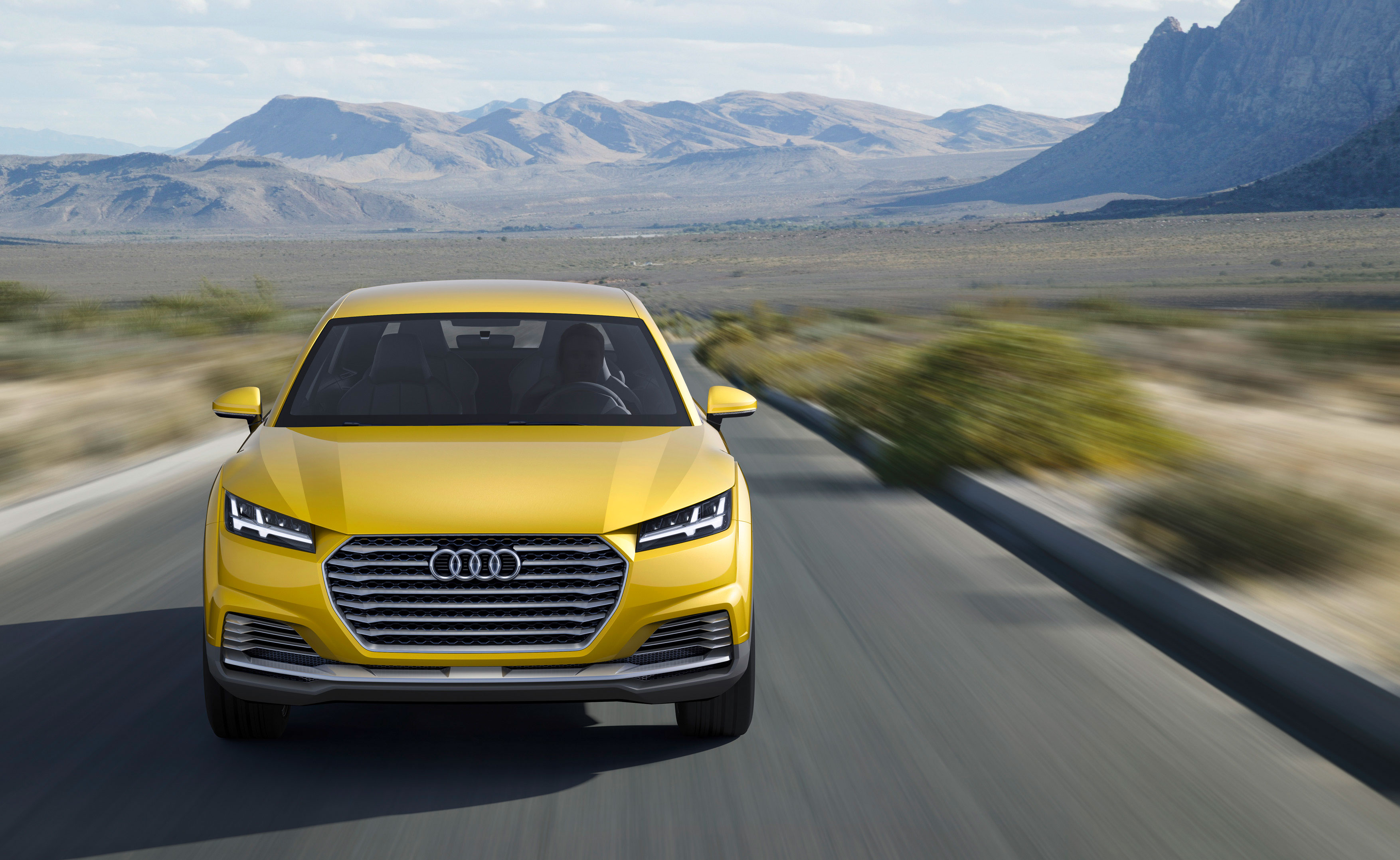 Audi TT Offroad Concept 2014 Front Gelb fahrend