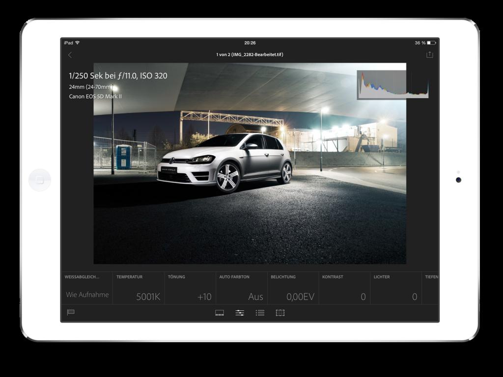 Bearbeitungsfenster in der Adobe Lightroom Mobile App für das iPad